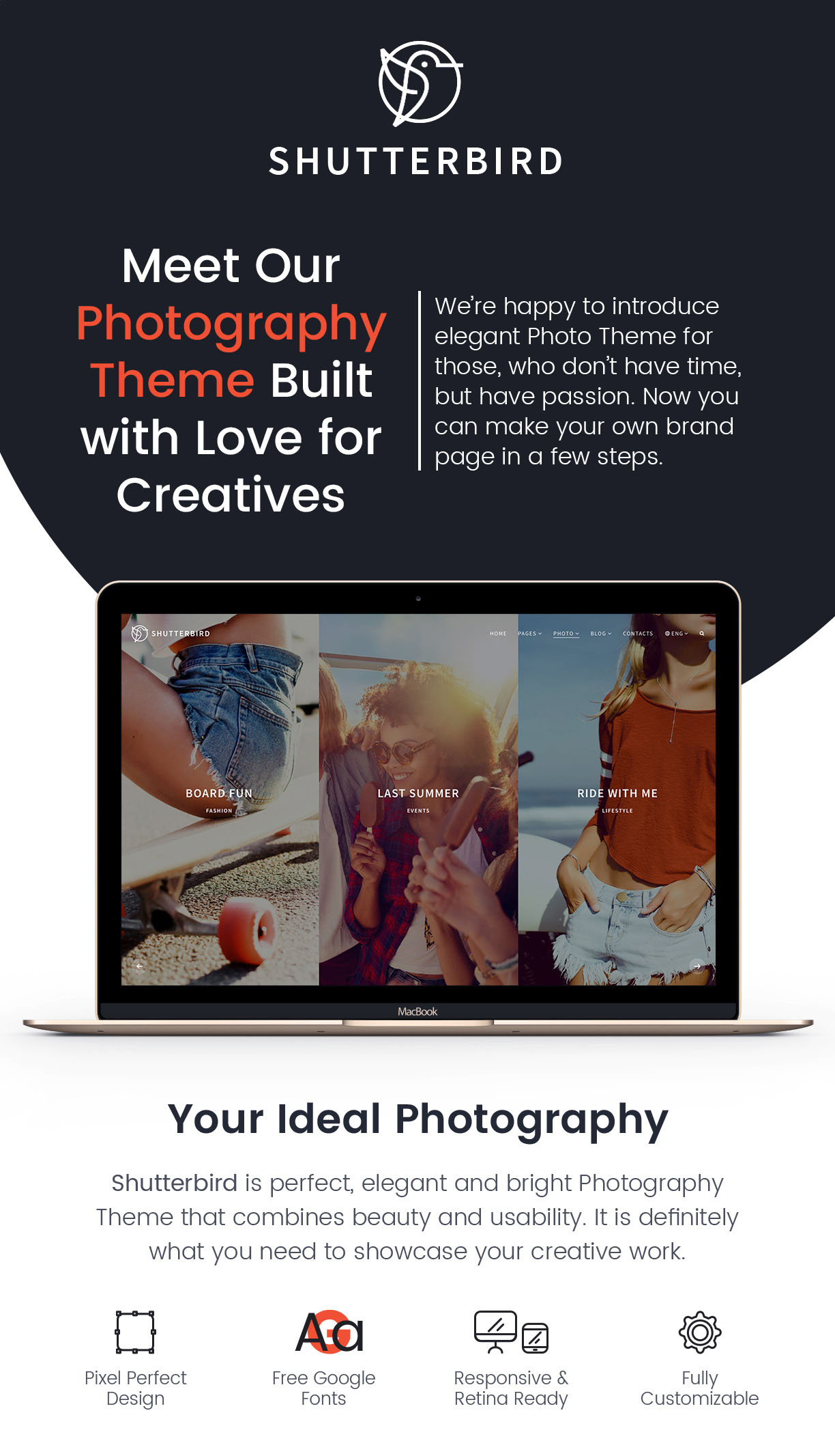 Photography WordPress Theme - Shutterbird Photography by GT3themes