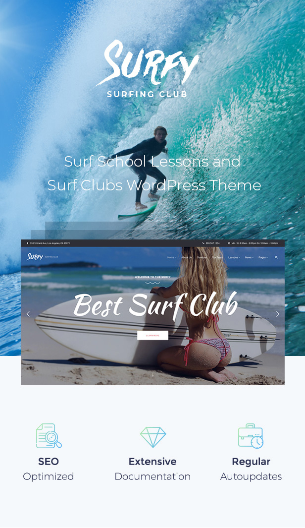 Surf School Lessons and Clubs WordPress Theme - Surfy - 1