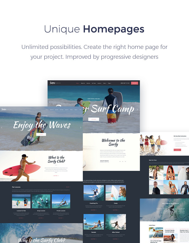 Surf School Lessons and Clubs WordPress Theme - Surfy - 2