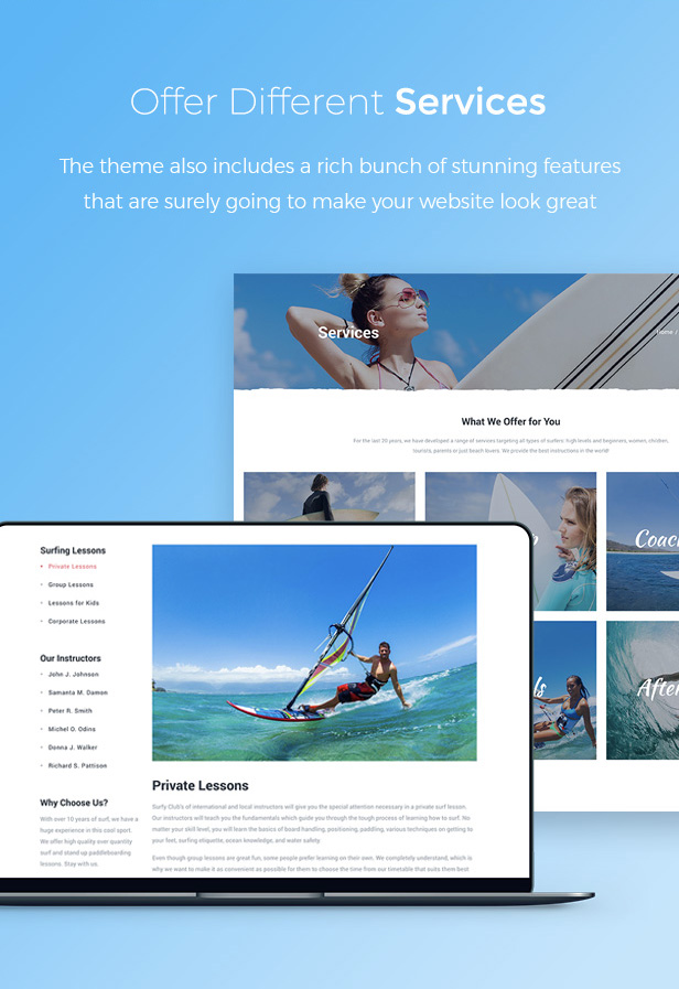 Surf School Lessons and Clubs WordPress Theme - Surfy - 3