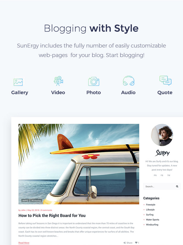 Surf School Lessons and Clubs WordPress Theme - Surfy - 5