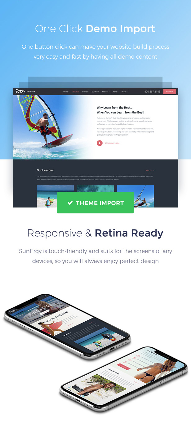 Surf School Lessons and Clubs WordPress Theme - Surfy - 6