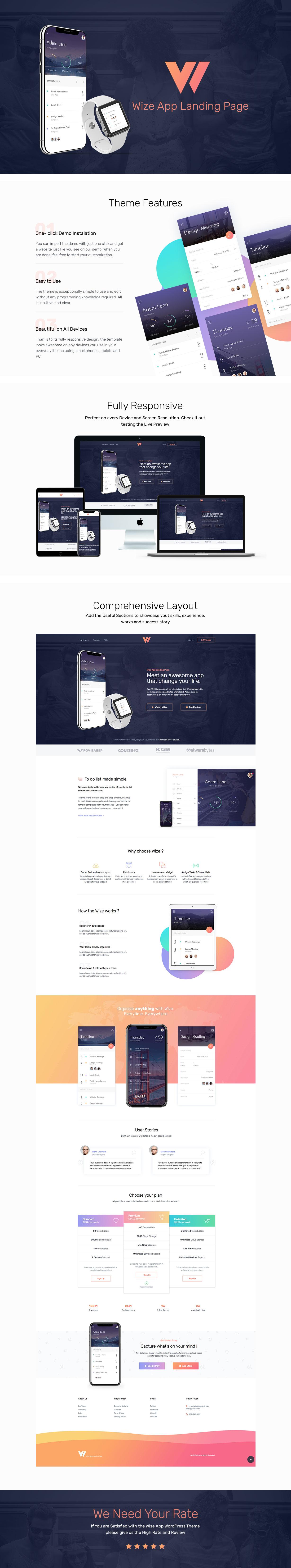 WizeApp - One Page App Landing WordPress Theme - 1
