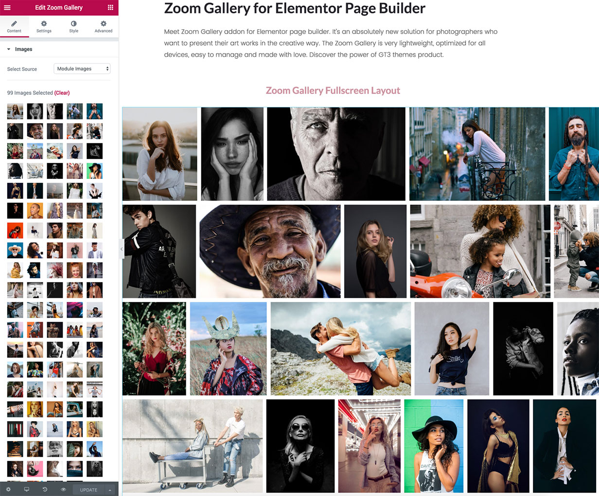 GT3 Zoom Gallery for Elementor Page Builder - 1