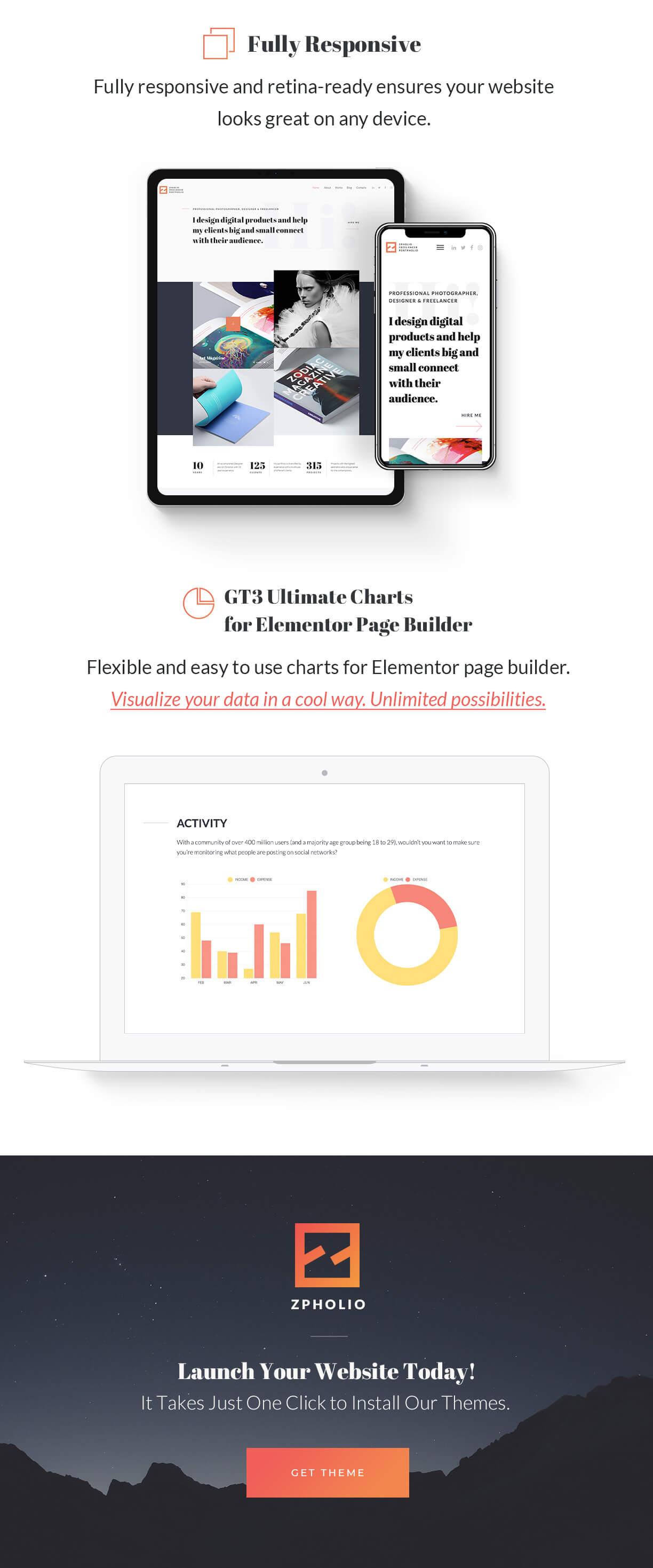 Elementor Creative Portfolio WordPress Theme - Zpholio - 6