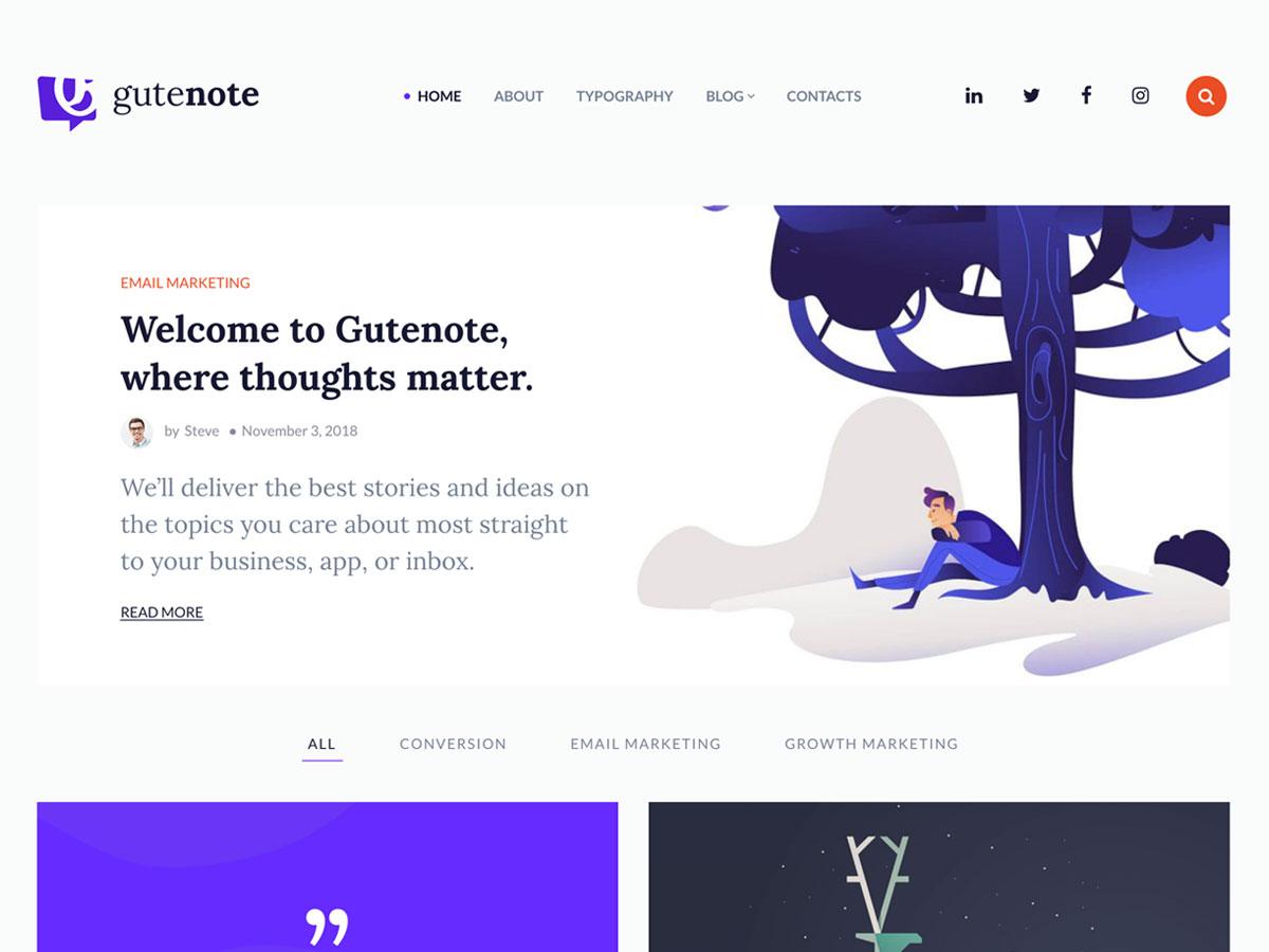 Gutenote – Gutenberg WordPress Blog Theme