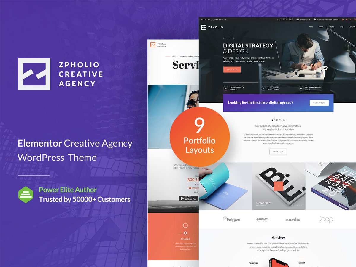 Zpholio – Creative Portfolio Elementor WordPress Theme